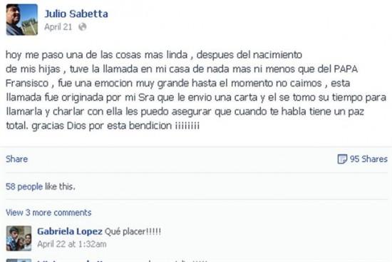 Facebook de Julio Sabbeta donde dio a conocer la famosa llamada de Sinagoglio.